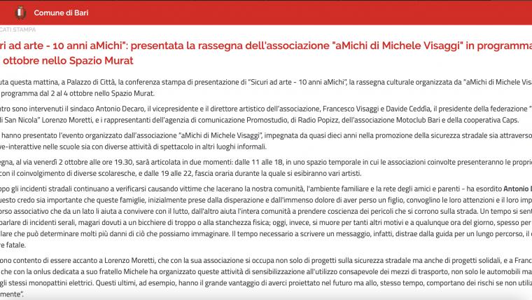 """""""Sicuri ad arte – 10 anni aMichi"""": l'articolo del Comune di Bari"""