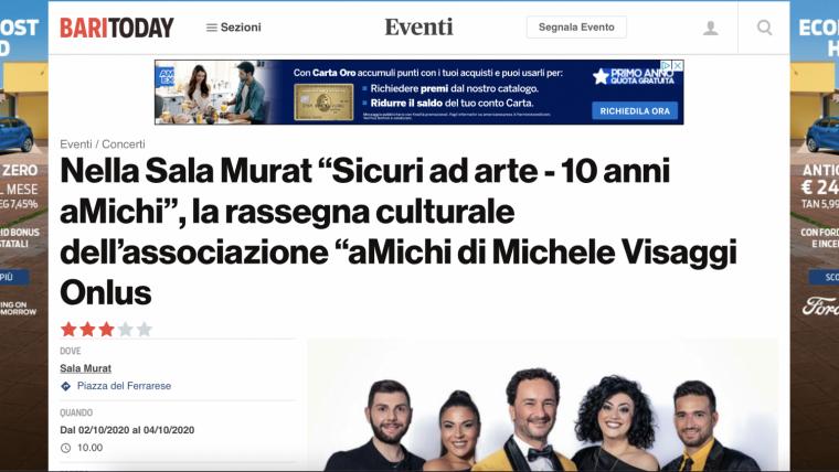 """""""Sicuri ad arte – 10 anni aMichi"""": l'articolo di BariToday"""